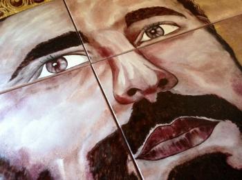 """Un enorme quadro dipinto col vino da Arianna Greco per la II Edizione di """"Federicus"""""""