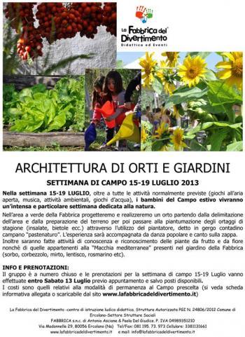 Architettura di orti e giardini al campo estivo ercolano il tacco di bacco - I giardini di bacco ...
