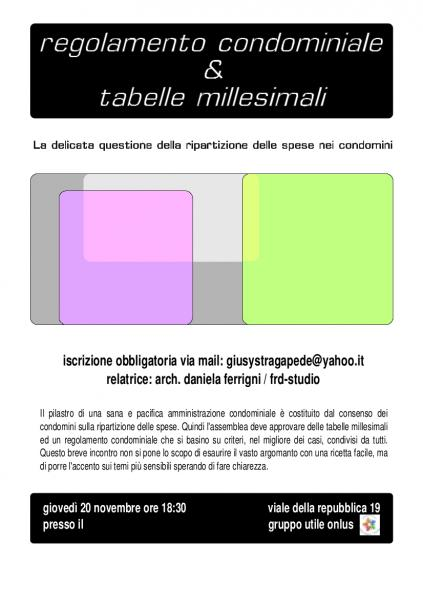 Tabelle Millesimali e Regolamento Condominiale - Bari - il Tacco di Bacco