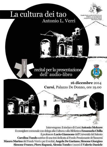 """di Palazzo De Donno """"La cultura dei tao"""" di Antonio Leonardo Verri"""
