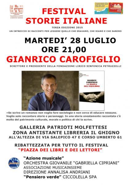 Gianrico Carofiglio per Storie Italiane, il Primo Festival di Letteratura a Molfetta