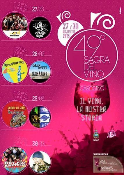 49° Sagra del vino di Carosino, il programma che chiude l'estate in allegria (Dal 27 al 30 Agosto)