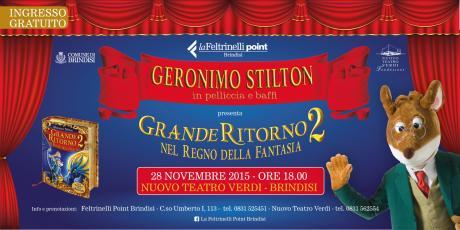 """GERONIMO STILTON (in pelliccia e baffi) presenta """"Grande Ritorno nel Regno della Fantasia 2"""" Ed. Piemme"""