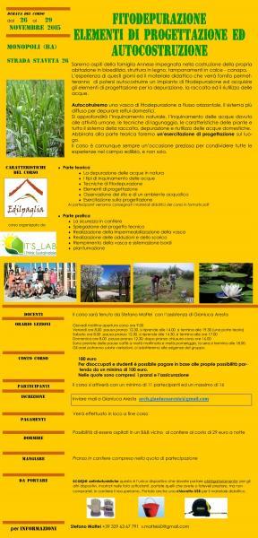 Corso sulla fitodepurazione: Elementi di progettazione e autocostruzione