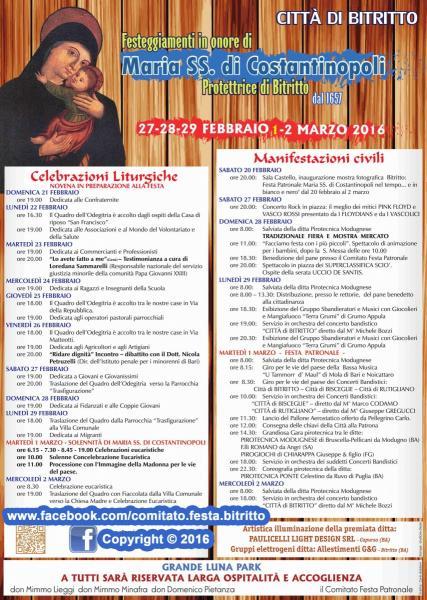 Festa Patronale in onore di Maria SS. di Costantinopoli 2016