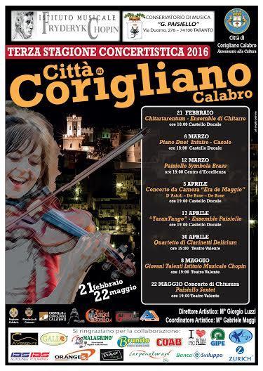 III Stagione concertistica 2016 Città di Corigliano