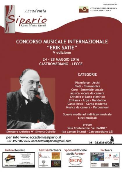 """Concorso Musicale Internazionale """"Erik Satie"""" V edizione"""