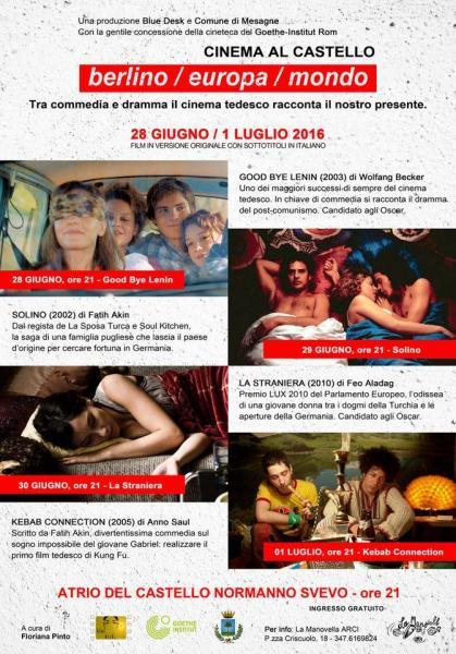 """Cinema al castello """"Berlino/Europa/Mondo"""" ingresso gratuito"""
