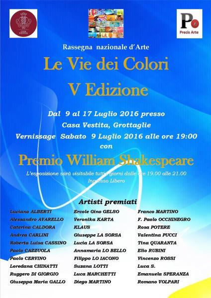 Le Vie dei Colori V edizione con Premio William Shakespeare