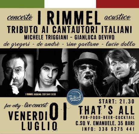 I Rimmel: Tributo ai cantautori italiani al THAT'S ALL (BARI)
