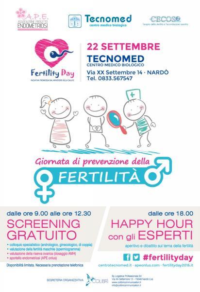 A.P.E. Onlus aderisce al Fertility Day_Giornata di prevenzione a Nardò c/o Centro Tecnomed, via XX Settembre, 14