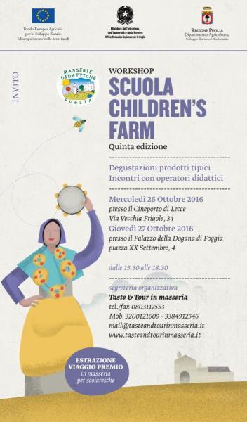 """Workshop """"Scuola Children's Farm"""" V Edizione Tappa Foggia"""