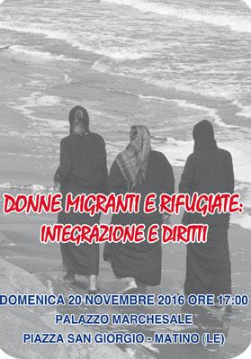 """Incontro su """"Donne Migranti e Rifugiate: integrazione e diritti"""" a Matino"""