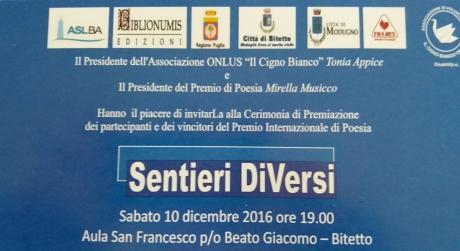 """""""I EDIZIONE PREMIO INTERNAZIONALE DI POESIA Sentieri DiVersi"""""""