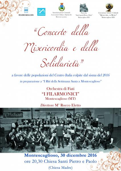 """Montescaglioso, """"Concerto della Misericordia e della Solidarietà"""" Orchestra di Fiati I FILARMONICI"""