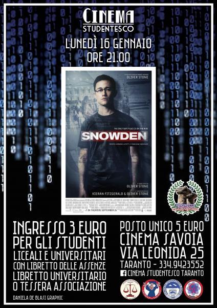 Snowden, in rassegna al Cinema Savoia