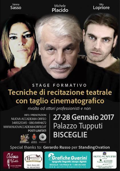 """Presentazione Stage """"Tecniche di recitazione teatrale con taglio cinematografico"""" con MICHELE PLACIDO"""
