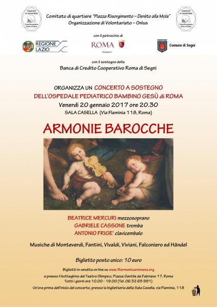 """Armonie Barocche concerto di beneficenza per il """"Bambino Gesù"""""""