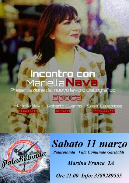 """Incontro con Mariella Nava - Presentazione di """"Epoca"""" nuovo singolo al Palarotonda."""