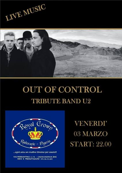Out of Control - U2 tribute live al Royal Crown