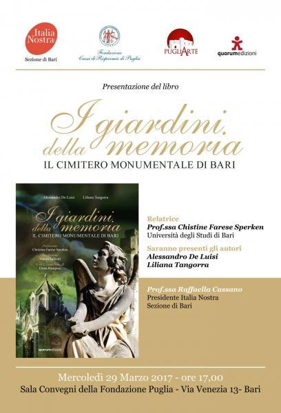 """Presentazione del libro """"I Giardini della Memoria. Il Cimitero Monumentale di Bari"""""""
