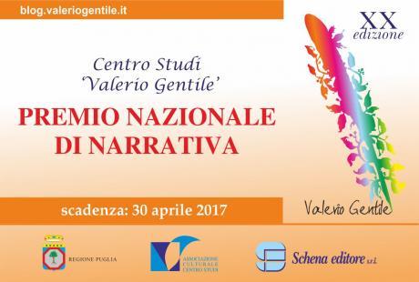 """Premio Nazionale di Narrativa inedita """"Valerio Gentile"""" XX edizione"""