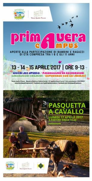 """Due iniziative per festeggiare la primavera alla Tenuta Quattro Pizzure: dal 13 al 15 c'è """"Primavera Campus"""", lunedì 17 la """"Pasquetta a Cavallo"""""""