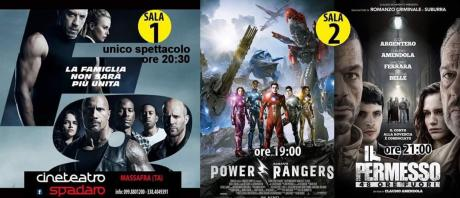 Sala 1 (Fast and Furious 8)  Sala 2 (Power Rangers - Il Permesso)