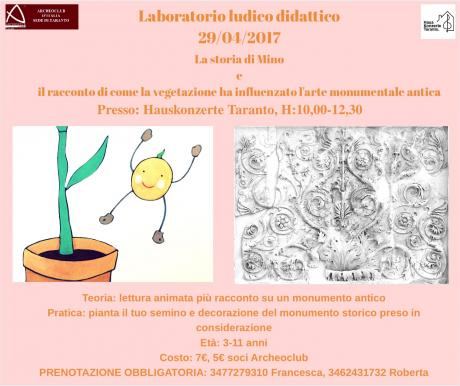 Laboratorio per Bambini: La storia di Mino e il racconto di come la vegetazione ha influenzato l'arte monumentale antica.