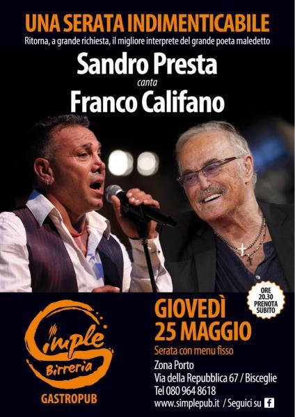"""Sandro Presta canta Franco Califano. La poesia del """"Califfo"""" nella versione del suo migliore interprete"""