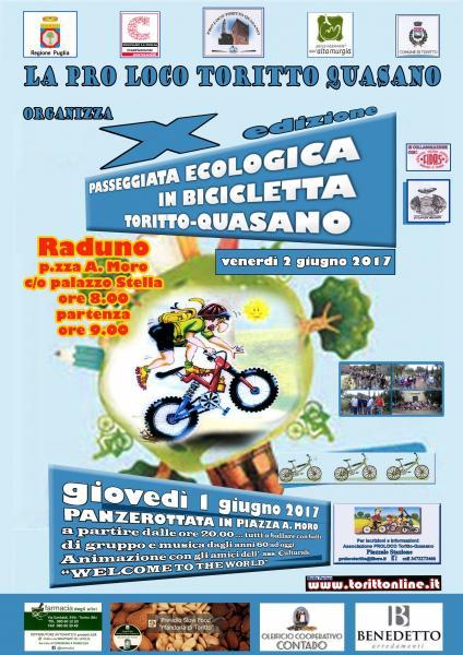 """Biciclettata ciclo turistica ambientale  Toritto -Quasano -""""Dalla Città al Parco"""""""