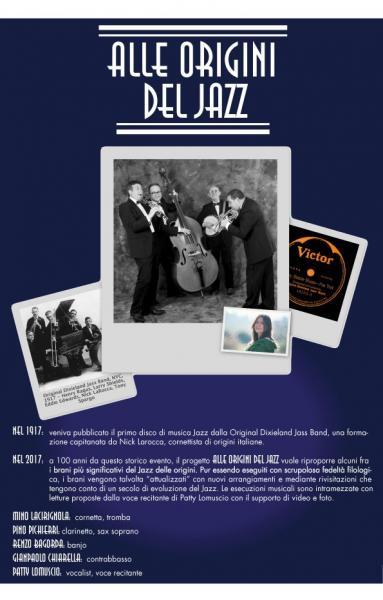 Alle Origini del jazz: spettacolo concerto a 100 anni dal primo disco di jazz!