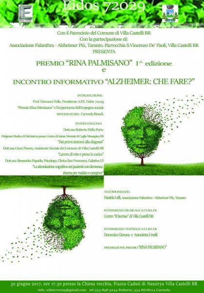Premio Rina Palmisano e Incontro Informativo Alzheimer: che fare?