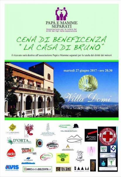 """Cena di beneficenza per sostenere """" La Casa di Bruno"""""""