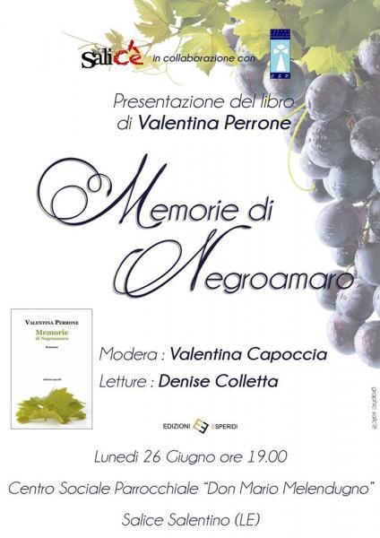 """""""Memorie di Negroamaro"""": il 26 giugno a Salice il romanzo di Valentina Perrone"""