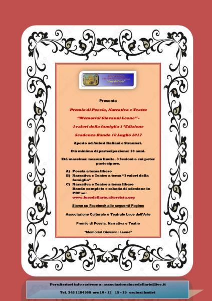 """Premio di Poesia, Narrativa e Teatro """"Memorial Giovanni Leone"""" – I valori della famiglia"""