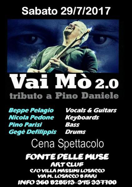 """Concerto tributo imperdibile dedicato a """"PINO DANIELE"""" di BEPPE PELAGIO e la sua Cover Band alla Sede Estiva della FONTE DELLE MUSE c/o Villa LOSACCO ex RENOIR Club."""