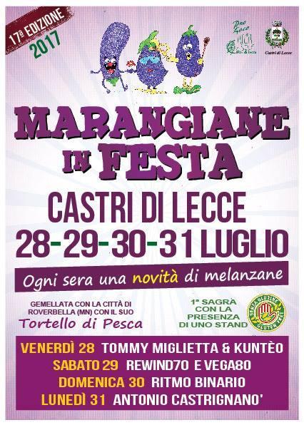 """La 17esima edizione di """"Marangiane in Festa"""" a Castrì dal 28 al 31 luglio. Quest'anno la novità del senza glutine"""