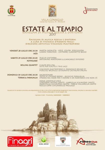 """III edizione di """"Estate al Tempio"""" - Villa Consiglio a Bisceglie apre le porte alla promozione del territorio ed alla musica come linguaggio universale"""