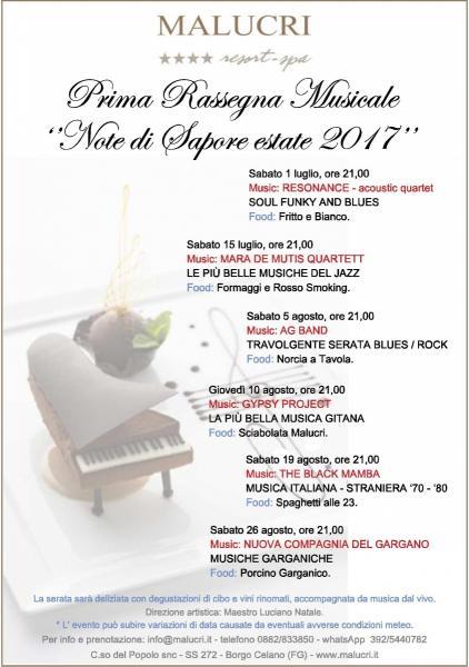 Cena di degustazione in terrazza con musica dal vivo al Ristorante Diomede presso Malucri Resort di Borgo Celano (Fg)