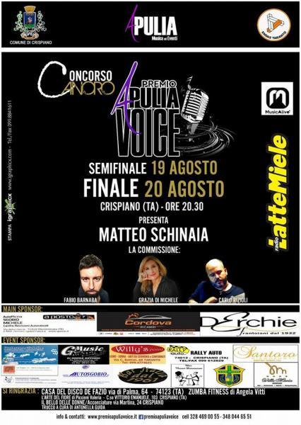 """19 20 Agosto: """"Premio Apulia Voice"""" a Crispiano"""