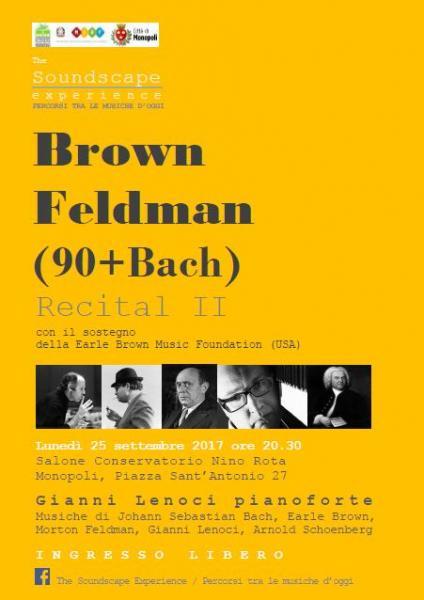 Brown/Feldman (90+Bach). Recital pianistico di Gianni Lenoci
