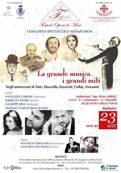 La grande musica i grandi miti: Toscanini Callas Pavarotti Piazzolla e Totò nell'omaggio del Festival Opera de Mari