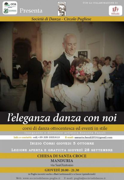 """""""L'Eleganza Danza con Noi"""", incontro aperto e gratuito di danze ottocentesche e scozzesi."""