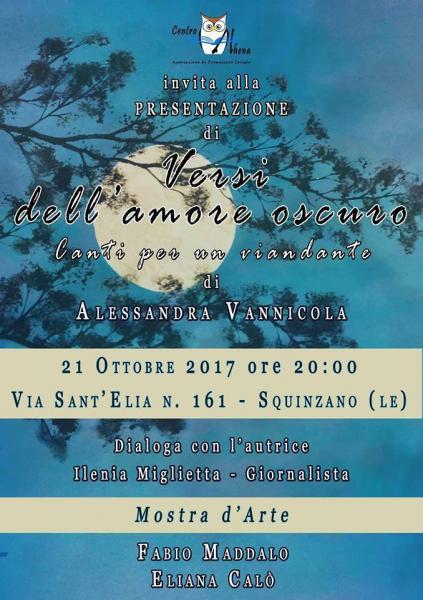 """Presentazione del Libro """"Versi dell'amore oscuro"""" di Alessandra Vannicola"""