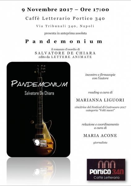 """Prima presentazione del romanzo """"Pandemonium"""", di Salvatore De Chiara"""