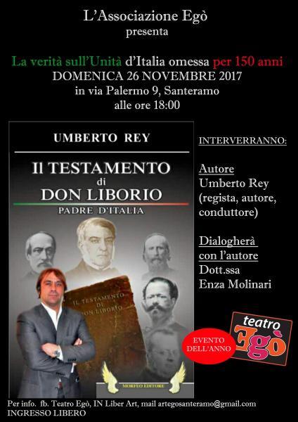 """Presentazione Libro """"Il Testamento di DON Liborio"""" il 26 novembre presso l'associazione Egò"""