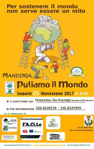 """Sabato 25 novembre 2017 Legambiente Manduria e il progetto FA.Ci.Le si incontrano in """"Puliamo il Mondo"""" atto III°"""
