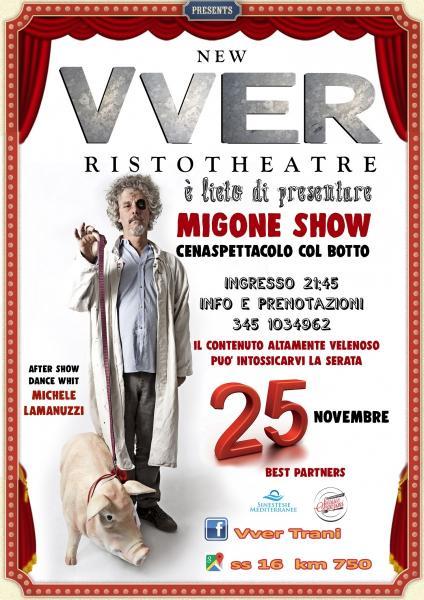 Lo stile surreale del comico toscano Paolo Migone nel tempio del buonumore a Trani, il New Vver Ristotheatre