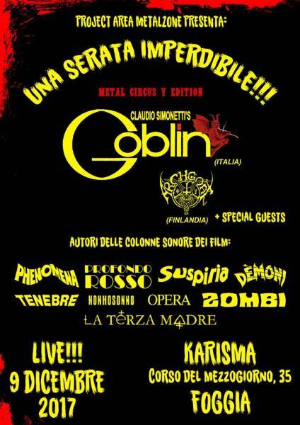 Per il 5° compleanno del Metal Circus: CLAUDIO SIMONETTI'S GOBLIN live concert a FOGGIA - sabato 9 dicembre @ Sala Karisma.